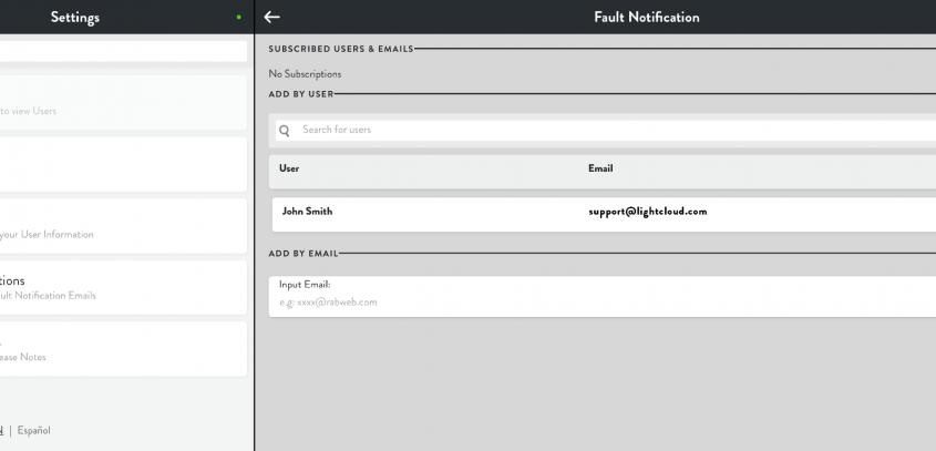 Lightcloud Fault Notifications