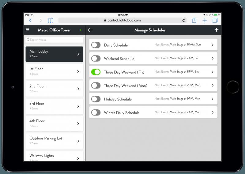 Lightcloud Schedules on iPad