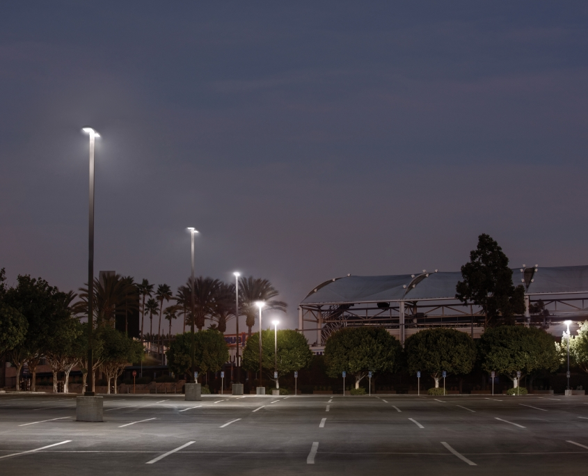 Parking Lot at Night with RAB LEDs